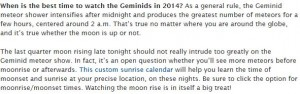 When is the best time to view gemenids.